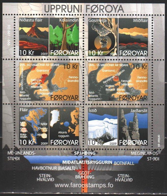 Faroe Islands. 2009. bl25. Formation of the Faroe Islands, volcanoes. MNH.