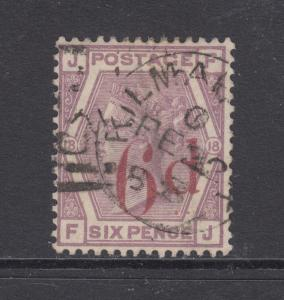 Great Britain Sc 95 used 1886 6p carmine surcharge on 6p Queen Victoria