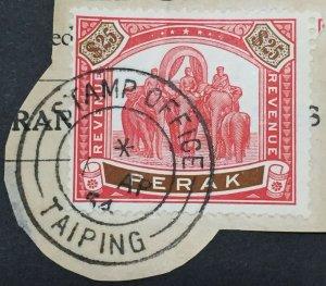 RARE MALAYA 1950 PERAK Elephants & Howdah $25 REVENUE Used M2809