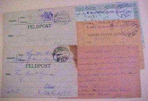 HUNGARY  TABORI 2,422,311,13 x2, 1 TO SERBIA 1916-1918 TOTAL 5 CARDS