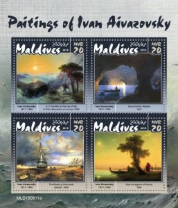 MALDIVES - 2019 - Ivan Aivazovsky Paintings - Perf 4v Sheet - MNH