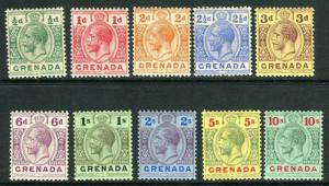GRENADA-1913-22  A lightly mounted mint set to 10/- Sg 89-101