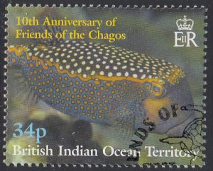 BIOT 2001 used Sc #251 34p Reef fish Friends of the Chagos 10th ann