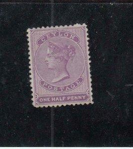 CEYLON (MK5041) # 14  VF-MNG  1/2 Penny  1858 QUEEN VICTORIA / LILAC   CV $200