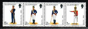 Guernsey # 96-98 ~ Strip of 4 ~ Uniforms ~ Mint, NH