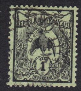 New Caledonia   1905   used  Kagu  1c.   #