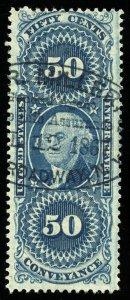 B166 U.S. Revenue Scott R54c 50-cent Conveyance, large agent handstamp cancel