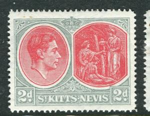 ST. KITTS; 1938 early GVI issue fine Mint hinged Shade of 2d. value
