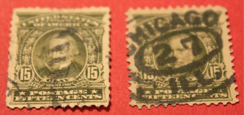 USA USED # 309 CLAY 15 CENT ISSUE X2