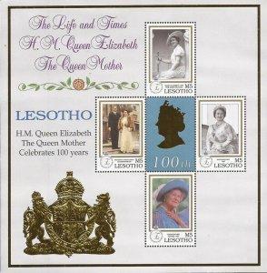 Lesotho - 1999 Queen Mother 100th Birthday - 4 Stamp Sheet - Scott #1207