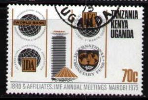 Vert. Lines Dividing 4 Bank Emblem, Kenya Uganda & Tanzania SC#268 used