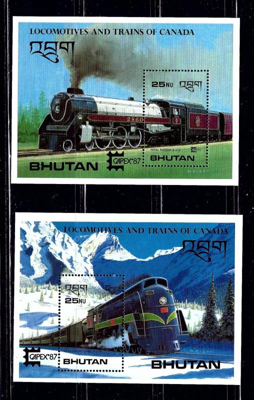 Bhutan 605-06 MNH 1987 Trains souvenir sheets