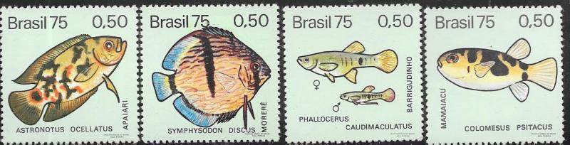 Brazil #1390-1393  Fish  (MLH) CV $3.40