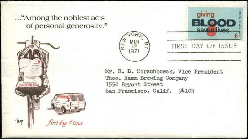 US FDC #1425 Marg Cachet New York, NY Giving Blood + Enclosure Foxboro