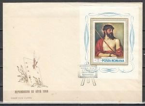 Romania, Scott cat. 2006. Religious Art on a s/sheet. First day Cover. ^