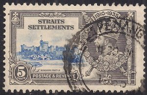 Straits Settlement 1935 KGV 5ct Silver Jubilee used SG 256 ( K1141 )