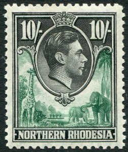 NORTHERN RHODESIA-1938-52 10/- Green & Black Sg 44 LIGHTLY MOUNTED MINT V35938