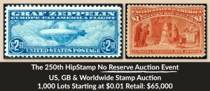 The 250th HipStamp No Reserve Auction Event