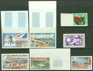 EDW1949SELL : SOMALI COAST Scarce collection of 7 Different Better Imperf sgls.