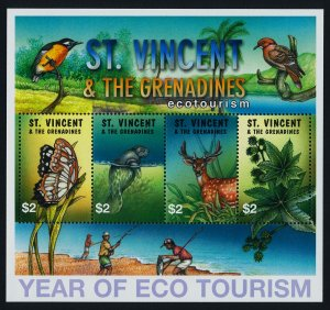 St Vincent 3036 MNH International Year of Ecotourism, Animals, Butterfly, Birds