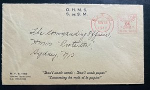 1944 Navy Post Office Canada OHMS Meter Cancel Cover to Sydney