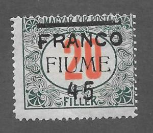 Fiume Scott 25 Mint 45f on 20c surcharged on Hungarian stamp 2015 CV $60.00