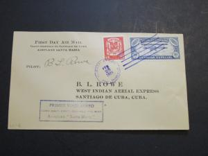 Dominican Rep. 1928 West Indian Air Exp Cov 2-20-28 / BL Rowe Signed (I) - Z3656