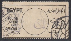 EGYPT c1910 Found Open and Officially Sealed label - used...................J176