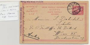EGYPT TO AUSTRIA 1909 5m REPLY CARD PHOTO AFFIXED SCARCE USAGE (SEE BELOW)
