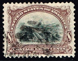 US STAMP #298 1901 8¢ Pan-American Commemorative used XFS SUPERB