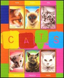 Guyana 2001 Cats Sheet MNH