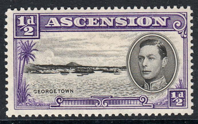 Ascension KGVI 1938 0.5d Black Violet SG38 Mounted Mint
