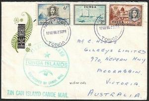 TONGA 1966 Tin Can Mail cover - violet cds.................................77205