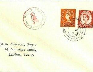 GB Cover SCOTS ISLANDS *St Kilda* 1962 PUFFIN Cachet Scotland {samwells}CV174