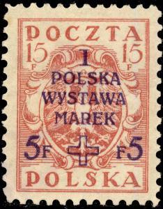 POLOGNE / POLAND 1919 Mi120Ax 15f+5f ordinary paper - Mint No Gum