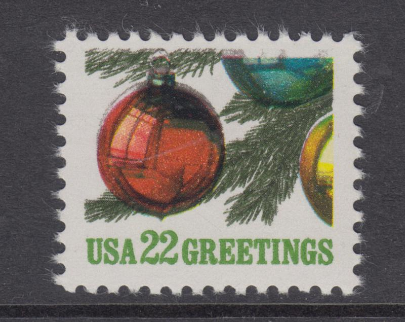 US Sc 2368 MNH. 1987 22c Christmas Ornaments, multiple minor color shifts