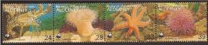 Alderney - 1993 WWF & Marine Life - 4 Stamp Strip - 1R-003