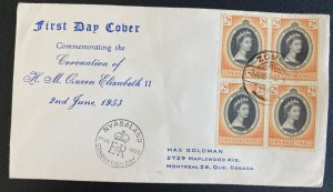 1953 Zomba Nyasaland First Day Cover Queen Elizabeth II coronation Stamp Block