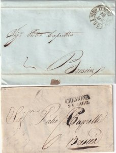 ITALY POSTAL HISTORY 2 STAMPLESS SFL WITH CORRESPONDENCE CREMONA TRIEST