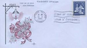 CANADA 444   CHRISTMAS 1965 -  Tagged - FDC