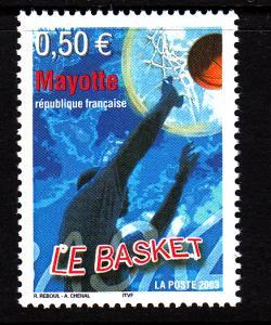 Mayotte MNH Scott #192 50c Basketball