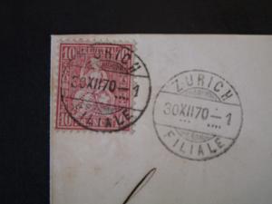 Switzerland 1870 10c Carmine on Cover - Z4970