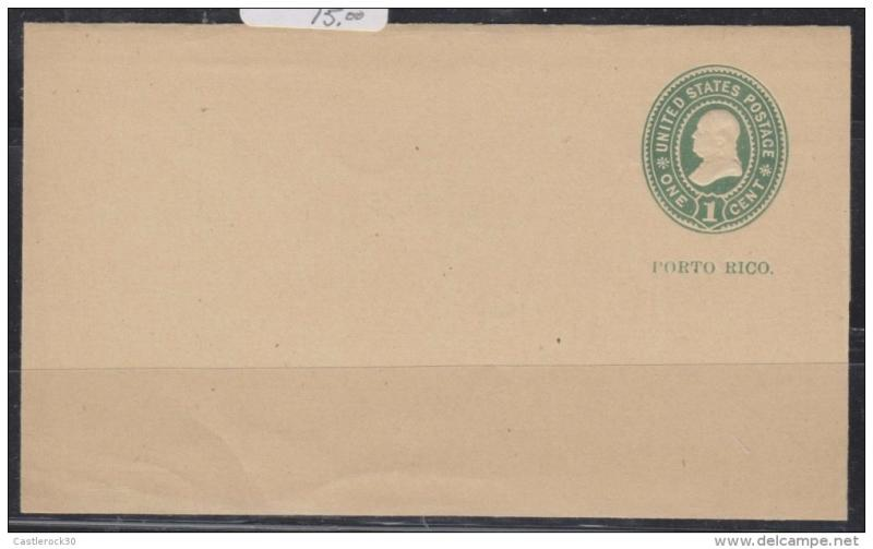 O) 1898 PUERTO RICO, POSTAL STATIONARY, US OCCUPATION, W 1,