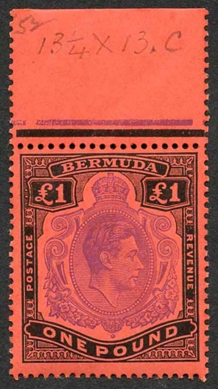 Bermuda SG121e KGVI One Pound Perf 13 BRIGHT VIOLET and black/scarlet U/M