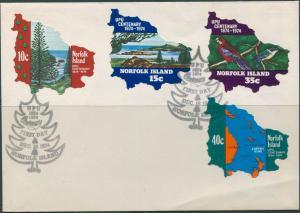 Norfolk Island 1974 SG158-161 UPU set FDC