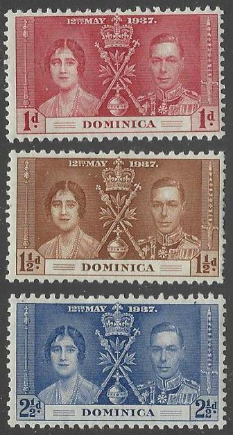 Dominica #94-96 Mint Hinged Set of 3 Coronation Issue