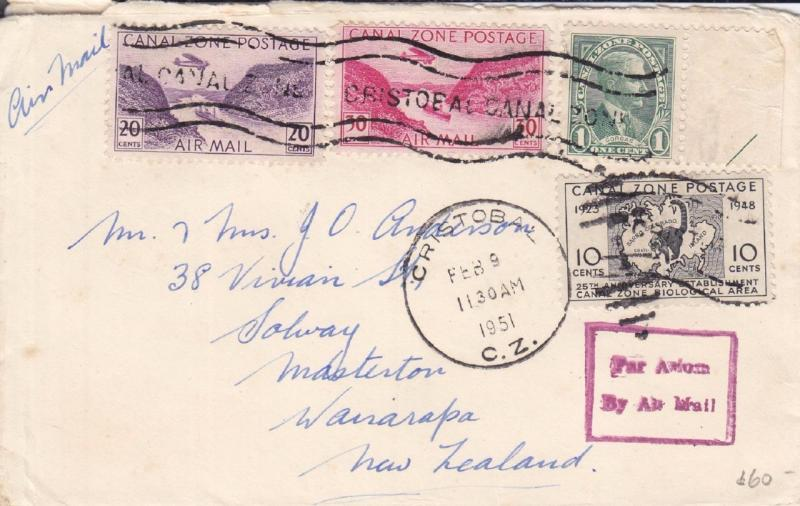 1951, Canal Zone to New Zealand, Airmail, Great Destination (1011)
