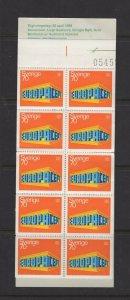 Sweden #816a (1969 Europa booklet) VFMNH CV $17.50