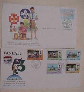 VANUATU FDC  & 1 CARD  BOY SCOUT 1982  CACHET UNADDRESSED