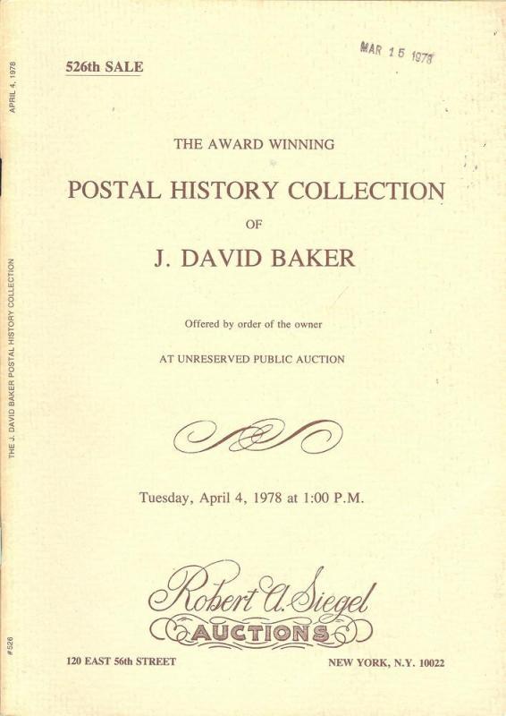 The Award Winning Postal History Collection of J. David B...